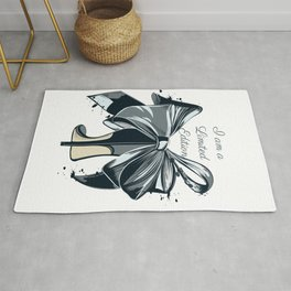 Fashion illustration with high heel shoe and bow. I am limited edition Rug
