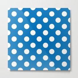 French blue - blue - White Polka Dots - Pois Pattern Metal Print