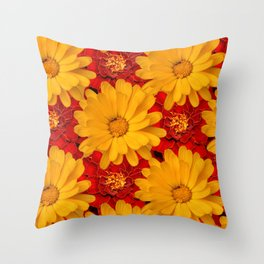 A Medley of Red and Yellow Marigolds Throw Pillow