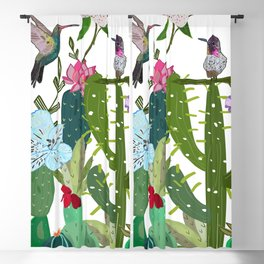 Cactus, succulents and humming bird. Tropical pattern Blackout Curtain