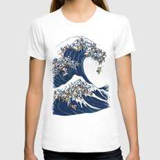 The Great Wave of Pug White MEDIUM Womens Fitted Tee