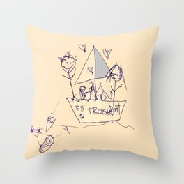 S.S. Trash Boat Throw Pillow
