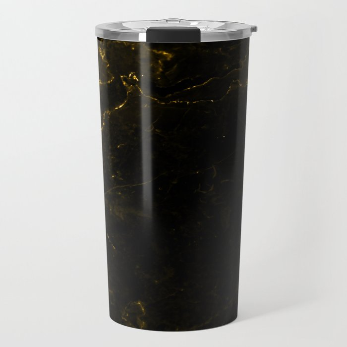 Black Gold Marble Travel Mug