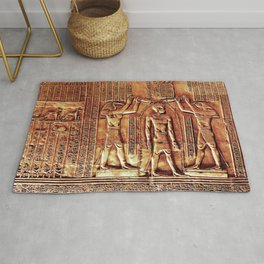 Egyptian Thoth Horus Hieroglyph Pyramid Rug