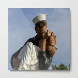 Kissing Sailor And Nurse Portrait Metal Print