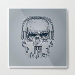 Skull Music Line Metal Print