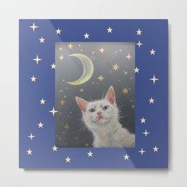 White cat at night Metal Print