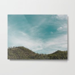 Teal Sky Forest Mountain Metal Print