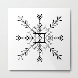 Blank Othila Algiz Runeflake Metal Print