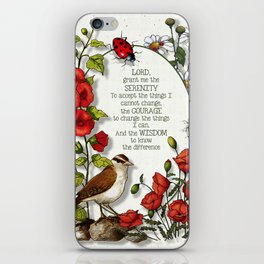 Serenity Prayer with Bird and Flowers and Ladybugs iPhone Skin