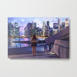 Girl in the Big City at Sunset Metal Print