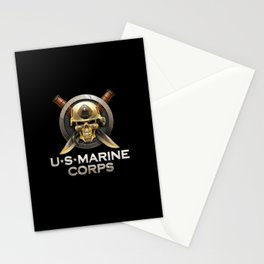 Military badge with marine skull Stationery Cards