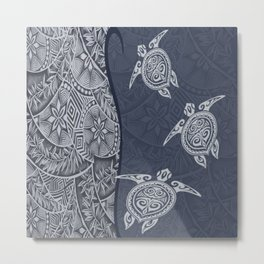 Contemporary Hawaiian Tapa with Sea Turtles Metal Print