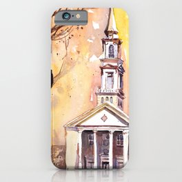 Watercolor painting of the Hayes-Barton church in Raleigh, North Carolina iPhone Case