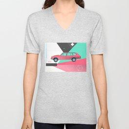 Retro Pink 80s Station Wagon Unisex V-Neck