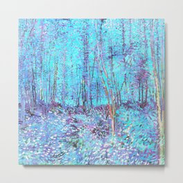 Van Gogh Trees & Underwood Aqua Lavender Metal Print