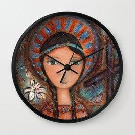 Saint Kateri by Flor Larios Wall Clock