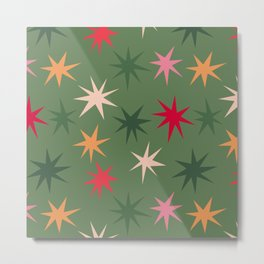 Colourful Sparkles - Green Metal Print