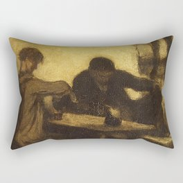 Honore Daumier - The Drinkers Rectangular Pillow
