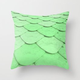 Pattern of green rounded roof tiles Throw Pillow