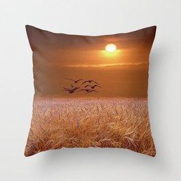 bird and yellow Throw Pillow