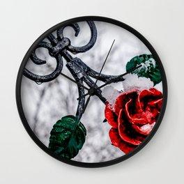Metal red rose Wall Clock