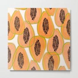 Papaya Cravings #illustration #pattern Metal Print