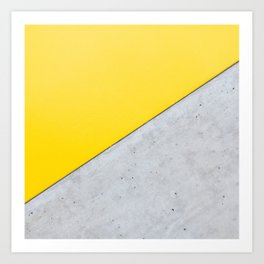 Yellow & Gray Abstract Background Art Print