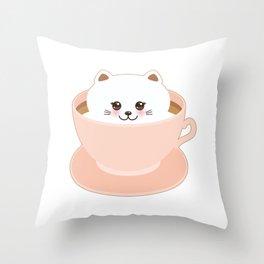 Cute Kawai cat in pink cup Throw Pillow