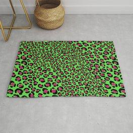 Pink Green leopard punk, pink animal print, green safari, psychobilly Rug