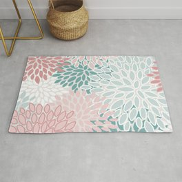 Festive, Floral Prints, Teal, Pink and White Rug