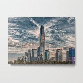Cityscape, city view, architecture, Shenzhen downtown (China) (2018-6-SHZ7art) Metal Print