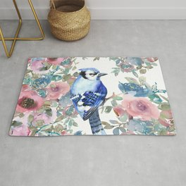 Blue small bird in roses watercolor design  Rug