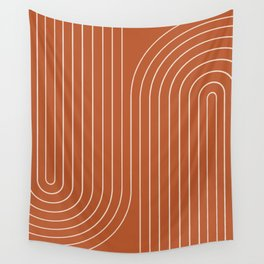 Minimal Line Curvature - Coral Red Wall Tapestry