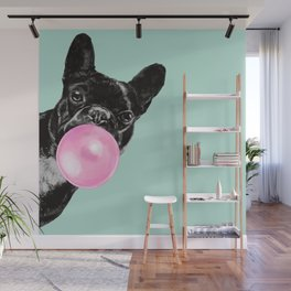 Bubble Gum Sneaky French Bulldog in Green Wall Mural