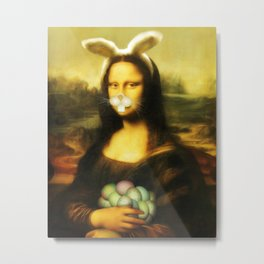 Easter Mona Lisa with Whiskers and Bunny Ears Metal Print