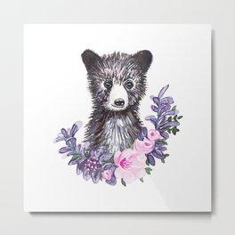 teddy bear head watercolor Metal Print