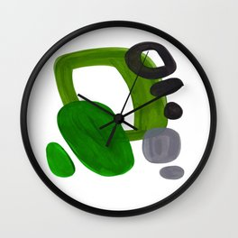 Mid Century Vintage 70's Design Abstract Minimalist Colorful Pop Art Olive Green Dark Green Grey Wall Clock