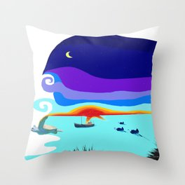 Under The Whale Of The Night Throw Pillow