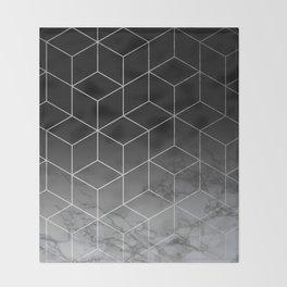 Silver Geometric Cubes Trendy White Grey Marble Throw Blanket