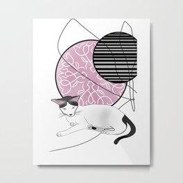 Catty De pink Minimalist Abstract Metal Print