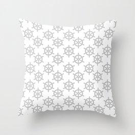 Ship Wheel (Gray & White Pattern) Throw Pillow