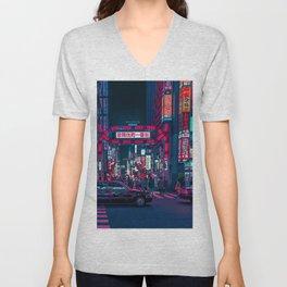 Cyberpunk Tokyo Street Unisex V-Neck