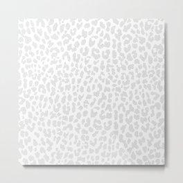 Pale Gray Leopard Metal Print