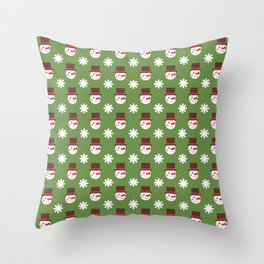 Snowman Snowflakes pattern Christmas decorations retro colors green background Throw Pillow