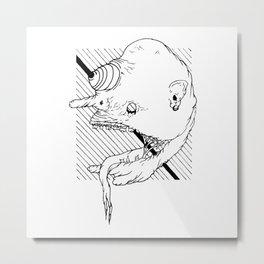 Trippy _ Zombie _ Head <L . I . N . E . W . O . R . K> | Black and White | Metal Print