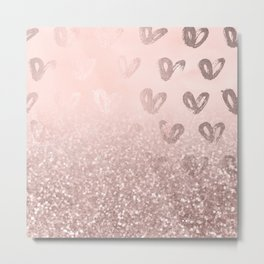 Rose Gold Sparkles on Pretty Blush Pink with Hearts Metal Print