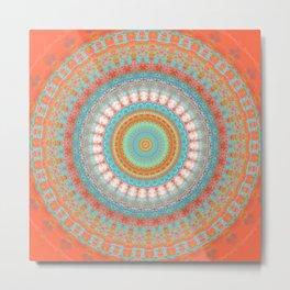 Turquoise Coral Mandala Design Metal Print