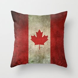 Old and Worn Distressed Vintage Flag of Canada Throw Pillow