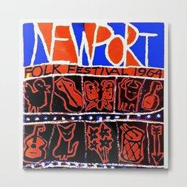 Vintage 1964 Newport Folk Festival Advertisement Poster Metal Print